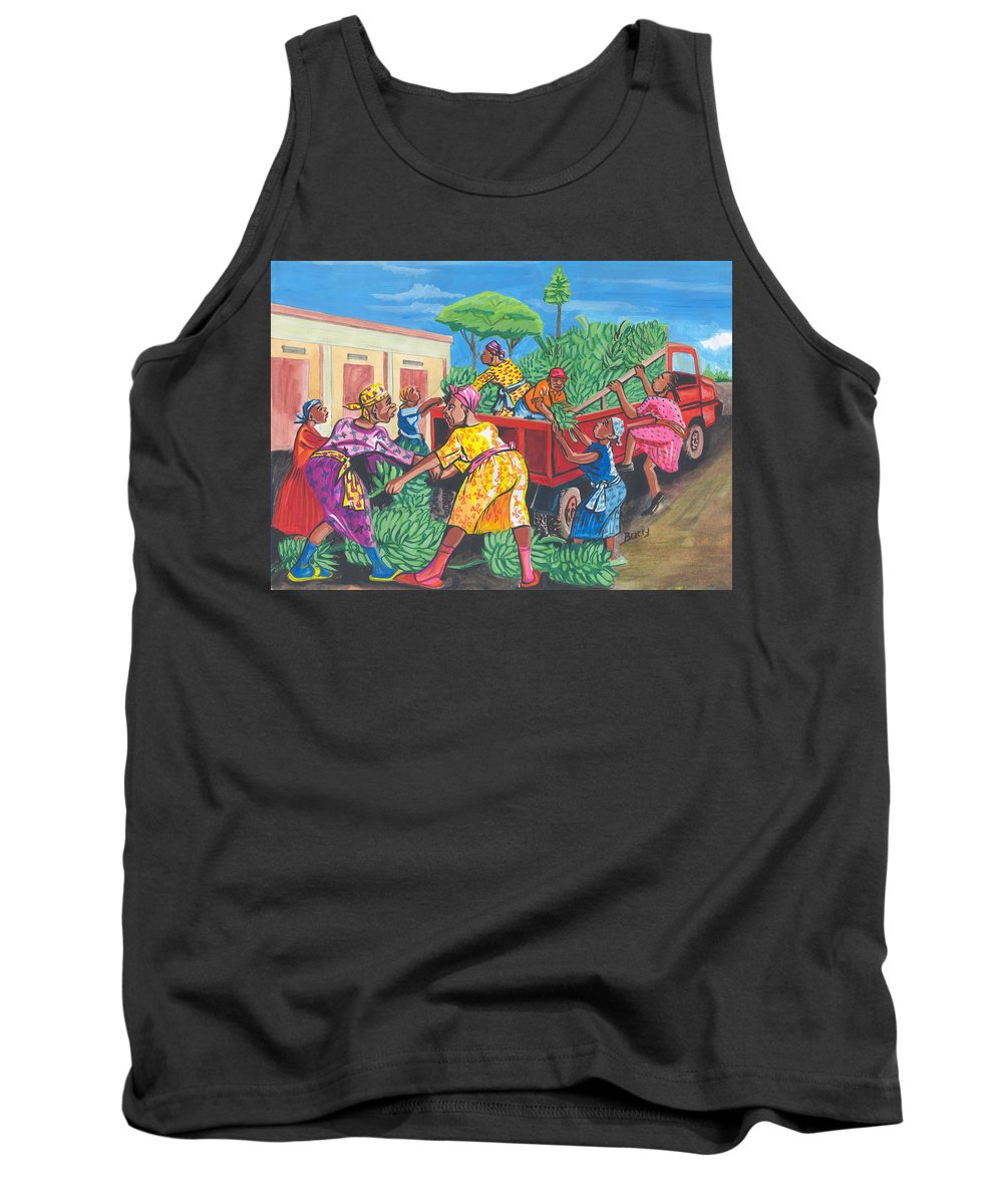 Impressionism Tank Top featuring the painting Banana Delivery In Cameroon 01 by Emmanuel Baliyanga