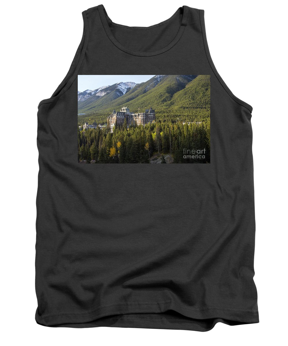 Banaff National Park Canada Parks Tree Trees Building Buildings Hotels Fairmont Springs Hotel Landscape Landscapes Nature Snow Mountain Canadian Rockies Rocky Mountains Tank Top featuring the photograph Banff Fairmont Springs Hotel by Bob Phillips