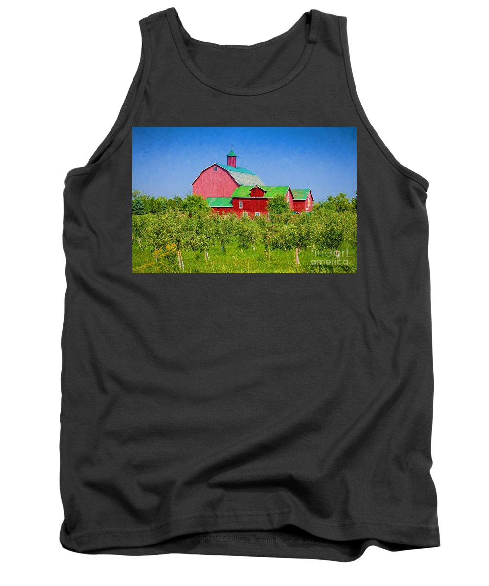 Apple Tank Top featuring the photograph Barn And Apple Orchard by Les Palenik