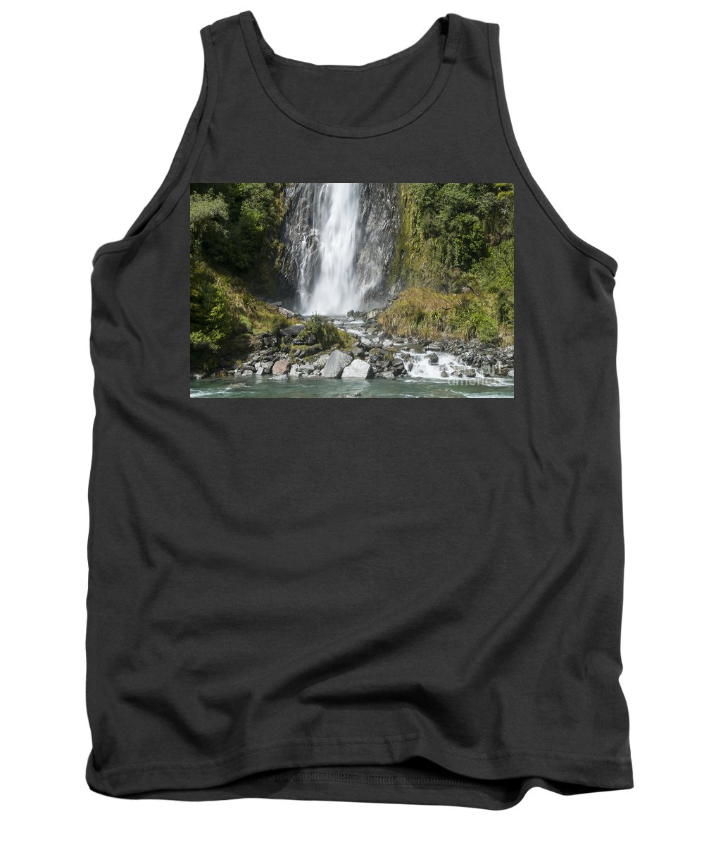 Mt. Aspiring National Park New Zealand Tree Trees Waterfalls Waterfall Thunder Creek Falls Creeks Water Tree Trees Rock Rocks Landscape Landscapes Waterscape Waterscapes Tank Top featuring the photograph Base Of Thunder Creek Falls by Bob Phillips