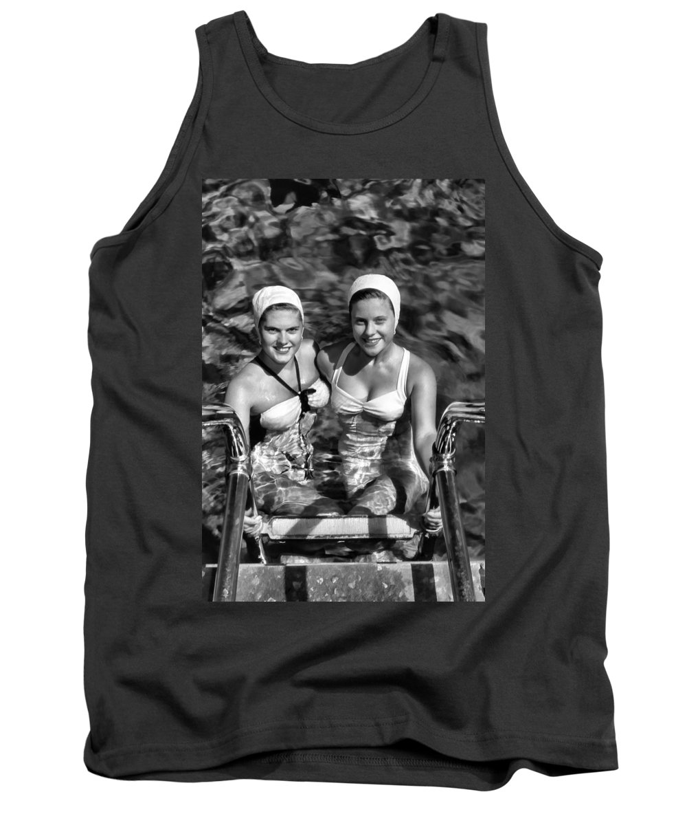 Tank Top featuring the digital art Bathing Beauties Black And White by Cathy Anderson