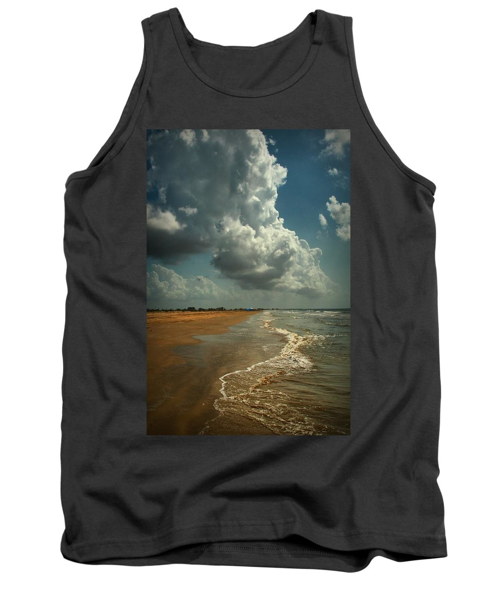 Beach Tank Top featuring the digital art Beach And Clouds by Linda Unger