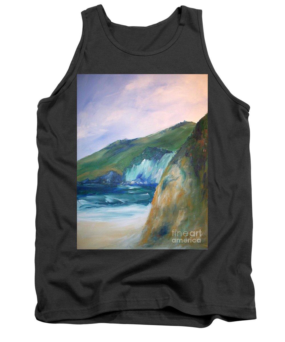 California Coast Tank Top featuring the painting Beach California by Eric Schiabor