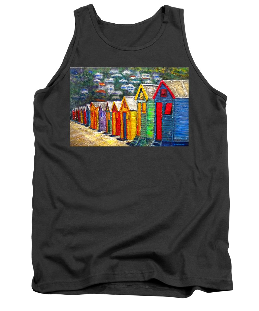 Beach Tank Top featuring the painting Beach Houses At Fish Hoek by Michael Durst