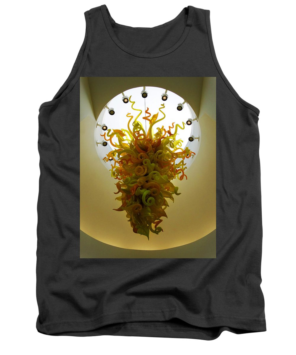 Beacon Gold Chandelier Tank Top featuring the photograph Beacon Gold Chandelier by David T Wilkinson