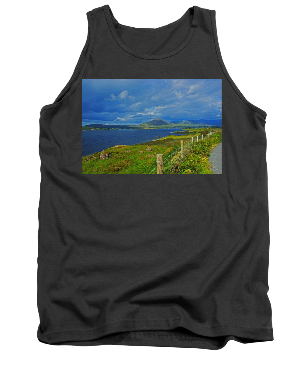Kenmare River Beara Peninsula Tank Top featuring the photograph Beara Peninsula West Kerry - On The Road To Lauragh Again by Simon Kennedy