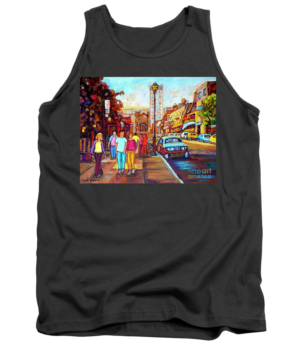 Montreal Tank Top featuring the painting Beautiful Downtown City Stroll Cafe Paintings Montreal Restaurants On Crescent Street C Spandau by Carole Spandau