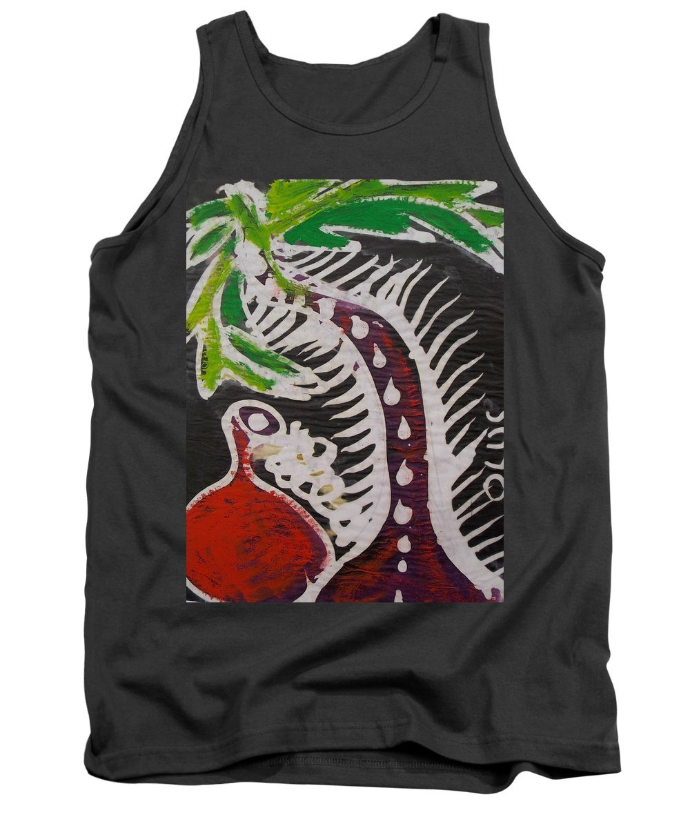 Palm Tree Tank Top featuring the painting Beautiful Palm Tree With Keg On The Bush.  by Okunade Olubayo
