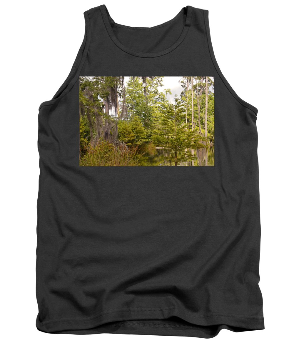 Green Tank Top featuring the photograph Beauty In A Swamp Ll by Leticia Latocki