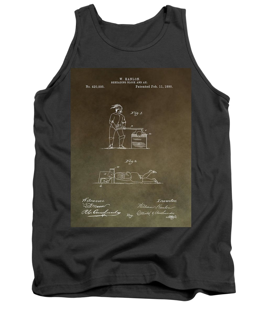 Beheading Block Patent Tank Top featuring the mixed media Beheading Block Patent by Dan Sproul