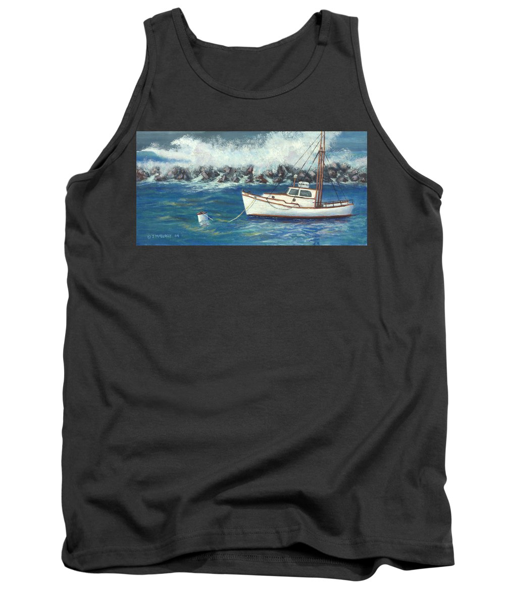 Ocean Tank Top featuring the painting Behind The Breakwall by Jerry McElroy