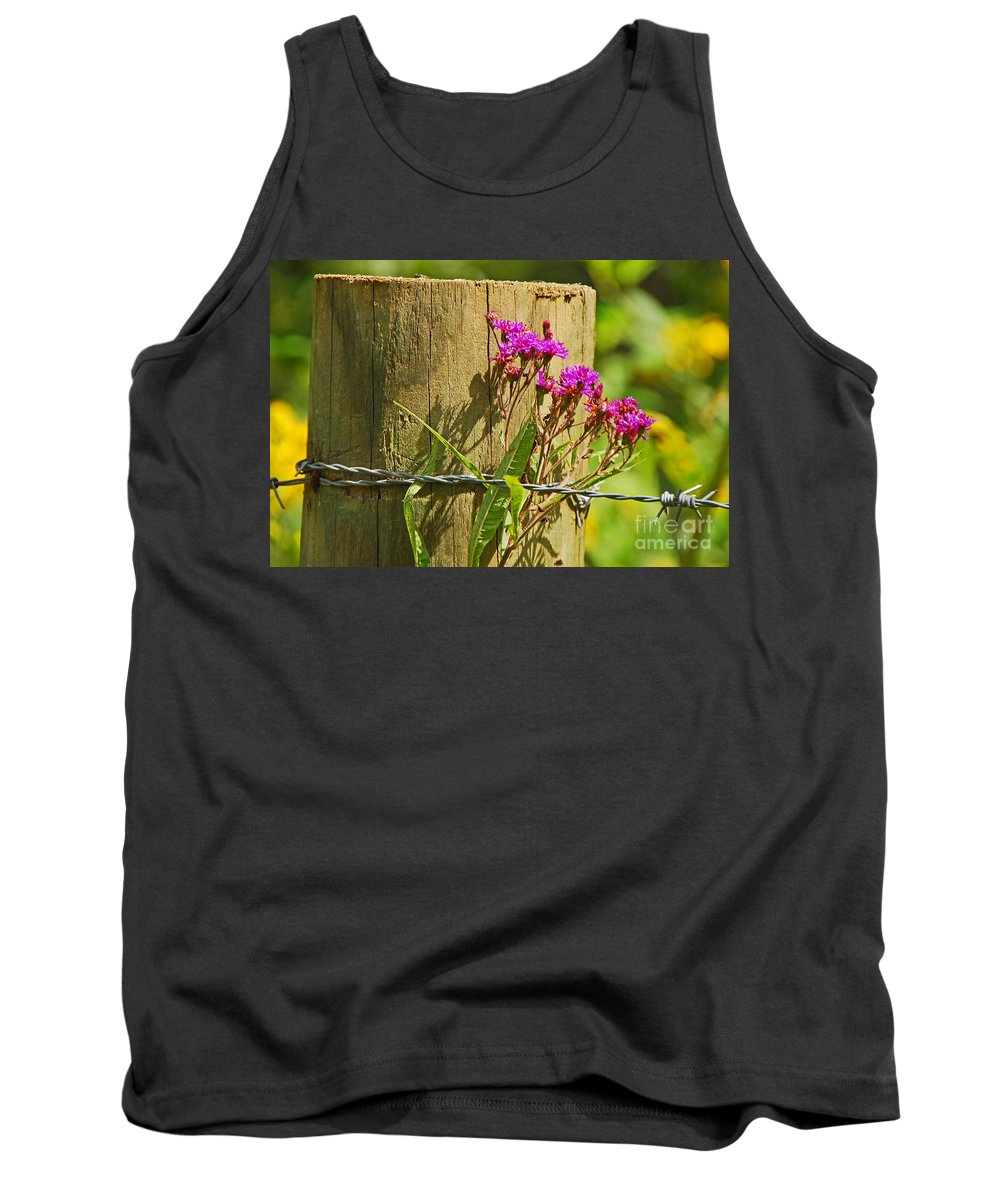 Landscape Tank Top featuring the photograph Behind The Fence by Mary Carol Story