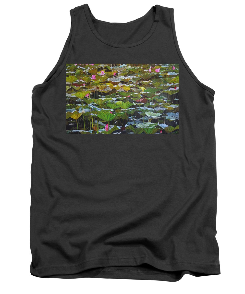 Waterlily Tank Top featuring the painting Beijing In August by Thu Nguyen