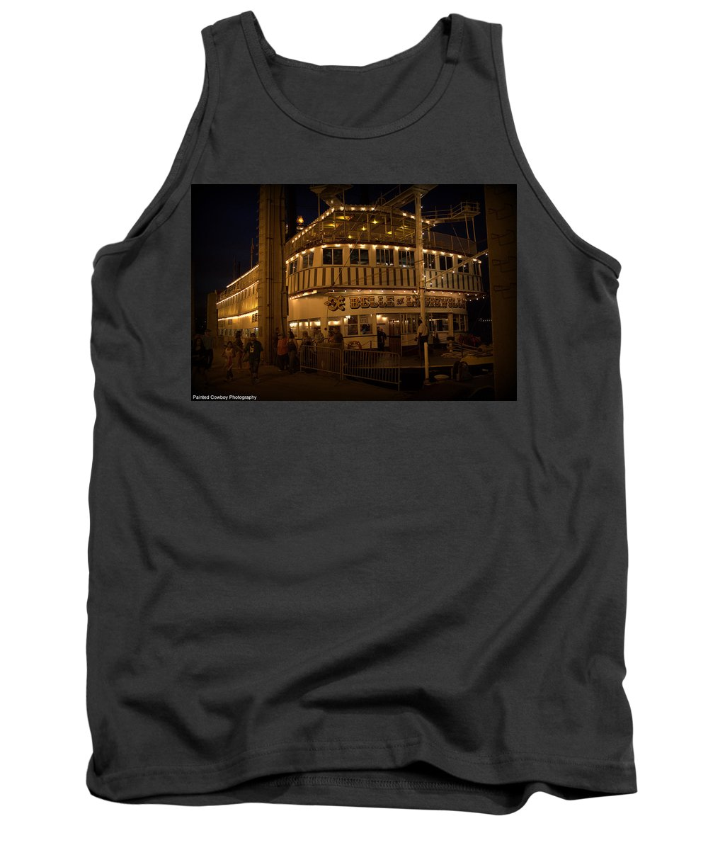 Boat Tank Top featuring the photograph Belle Of Louisville Lights by Daniel Jakus