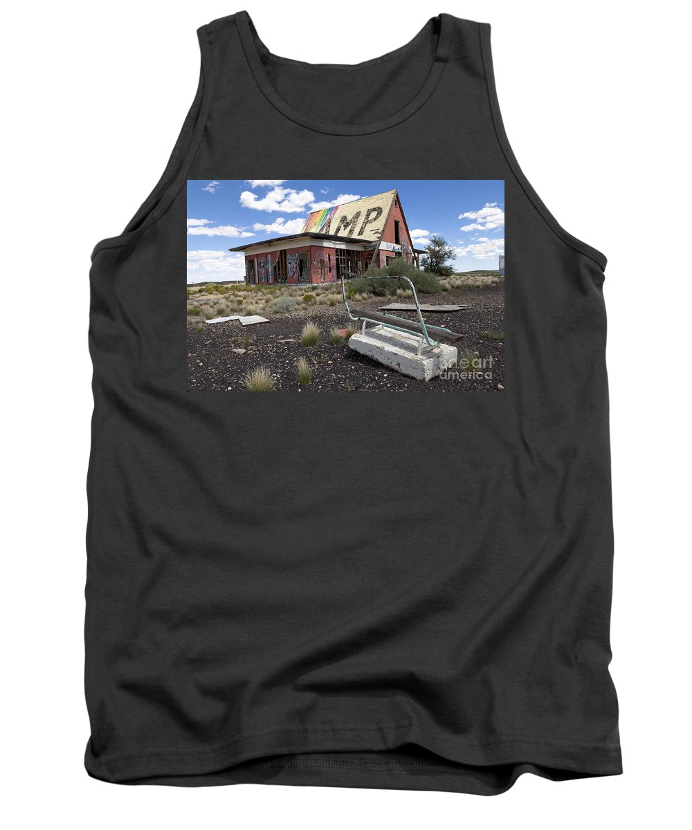 Route 66 Tank Top featuring the photograph Bench At Two Guns by Rick Pisio