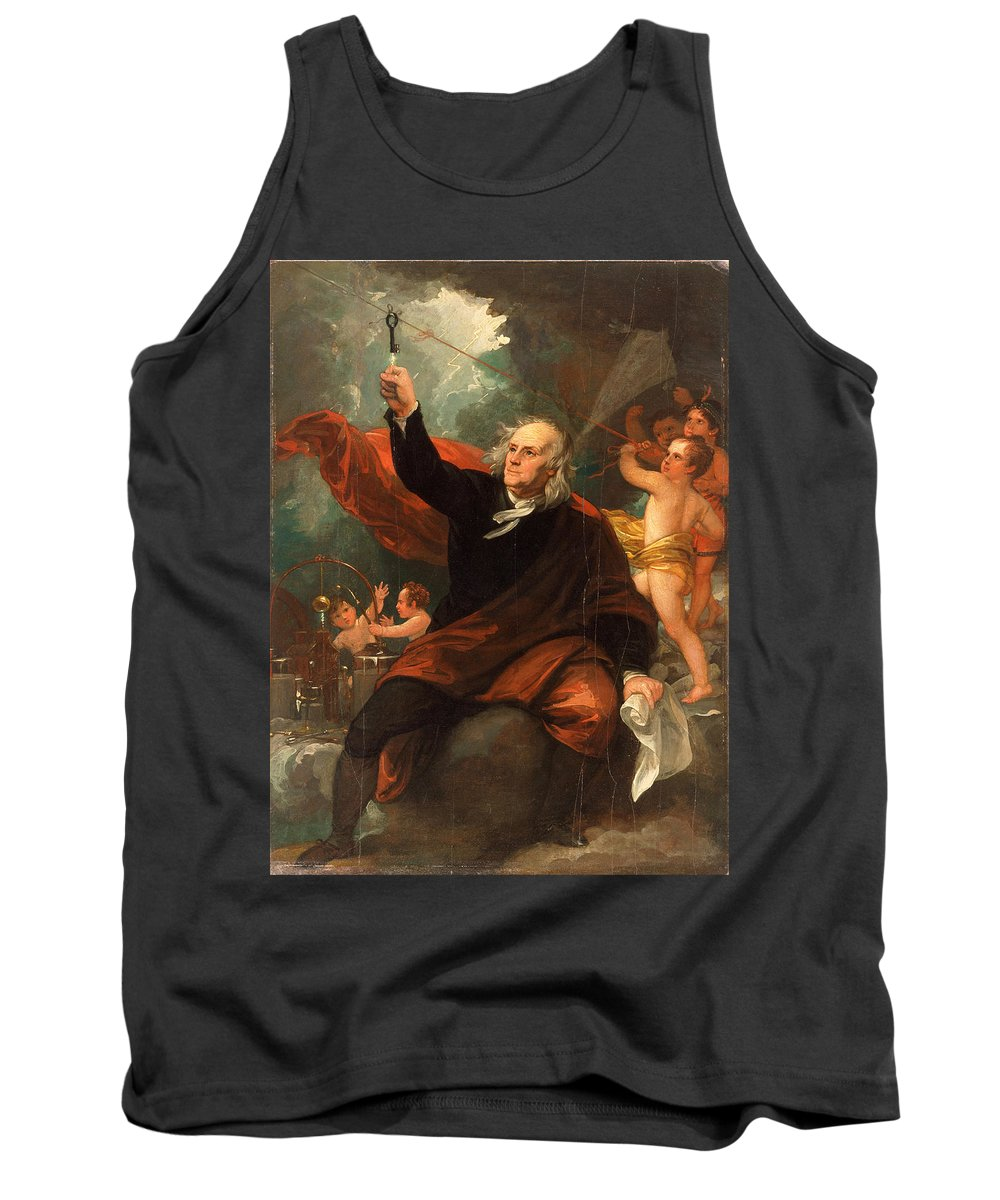Benjamin West Tank Top featuring the painting Benjamin Franklin Drawing Electricity From The Sky by Benjamin West