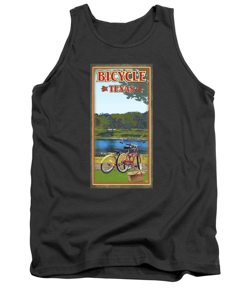 Bicycle Tank Top featuring the digital art Bicycle Texas by Jim Sanders