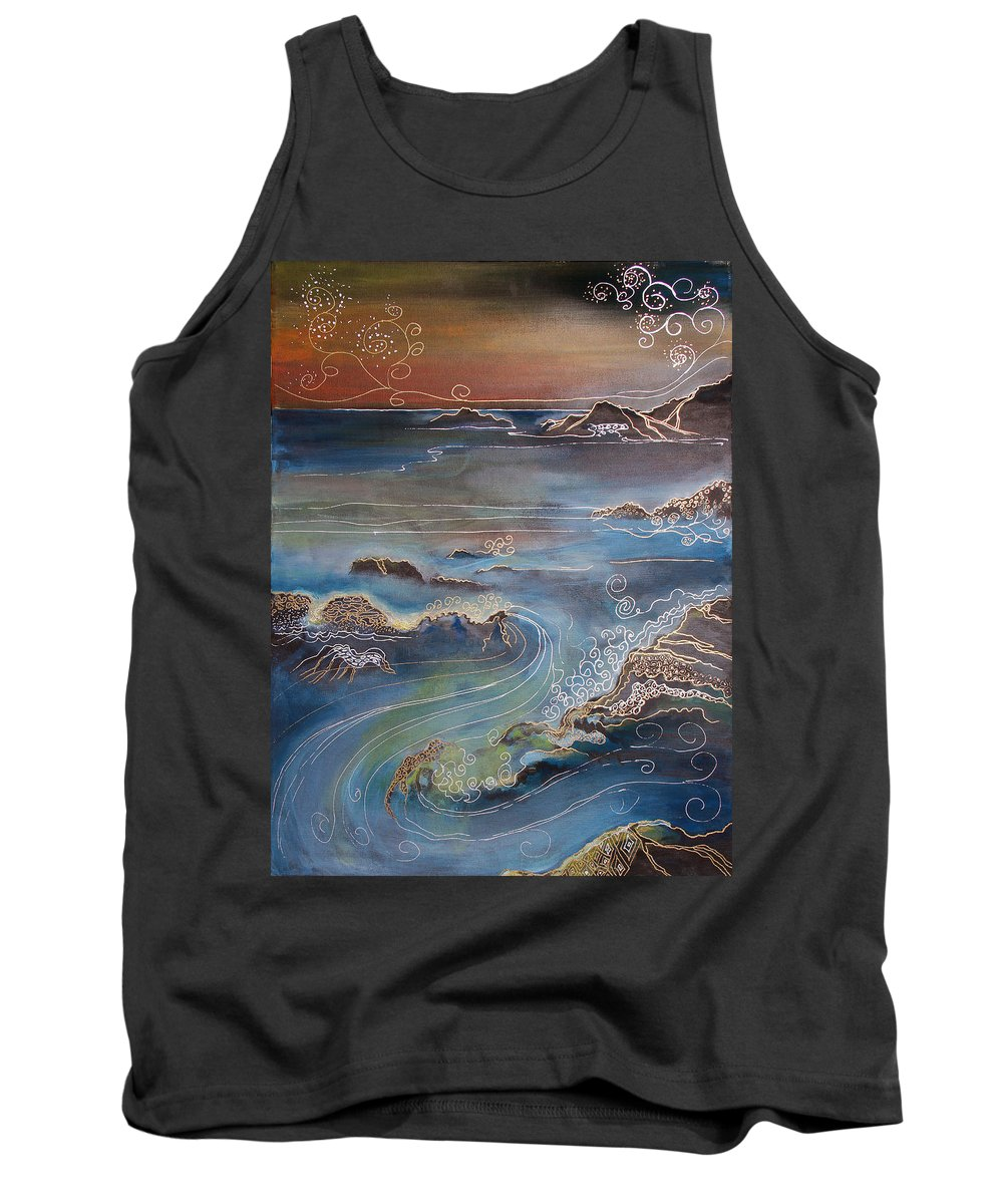 Drawing Tank Top featuring the painting Big Sur In Sunset by Gideon Cohn