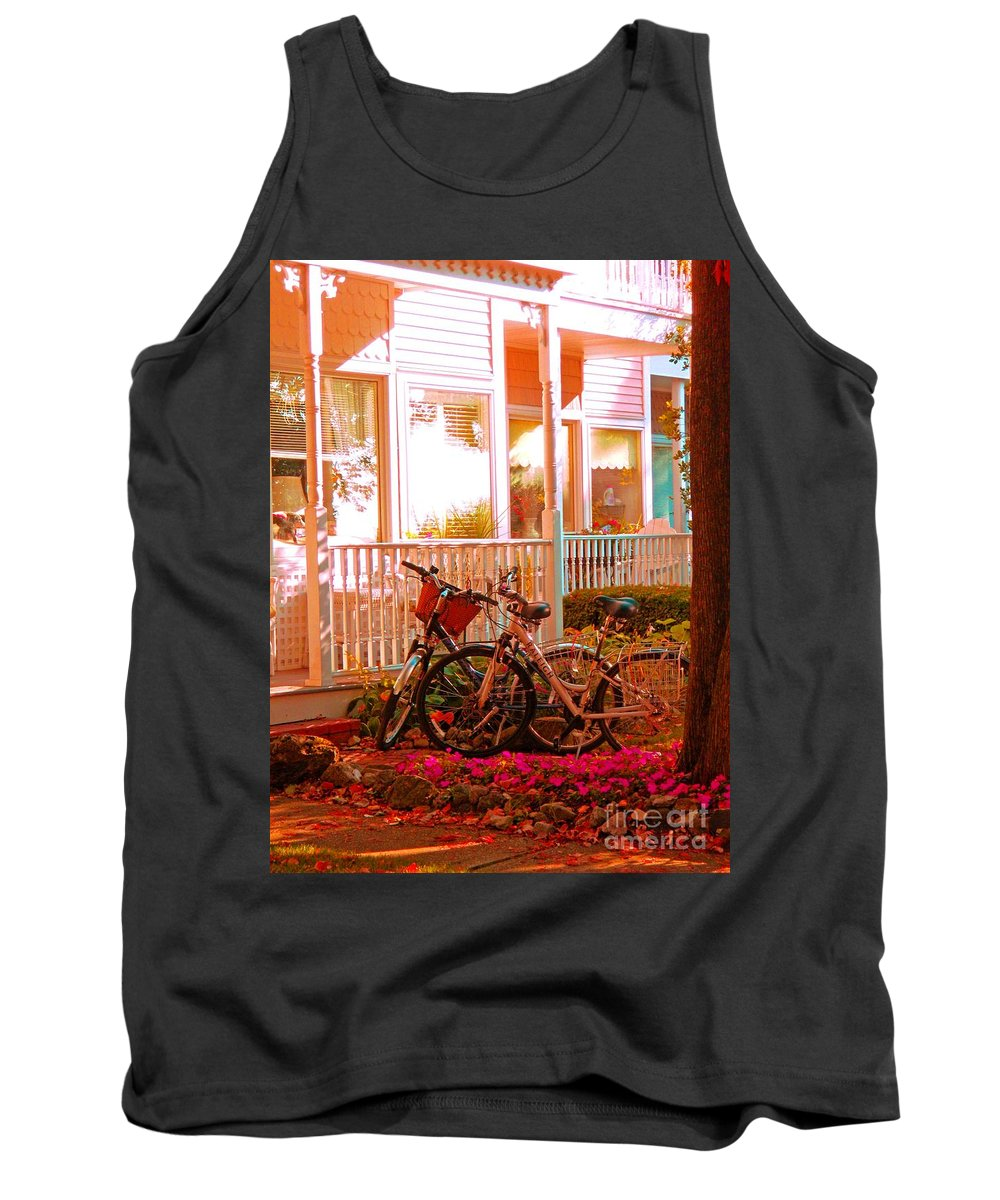 Bikes Tank Top featuring the photograph Bikes In The Yard by Desiree Paquette