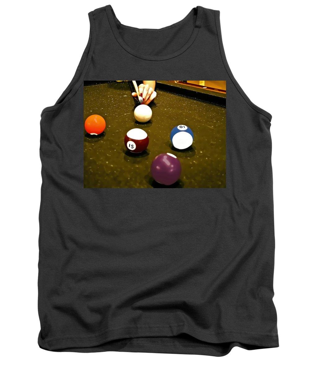 Billiards Tank Top featuring the mixed media Billiards Art - Your Break -art 8 by Lesa Fine