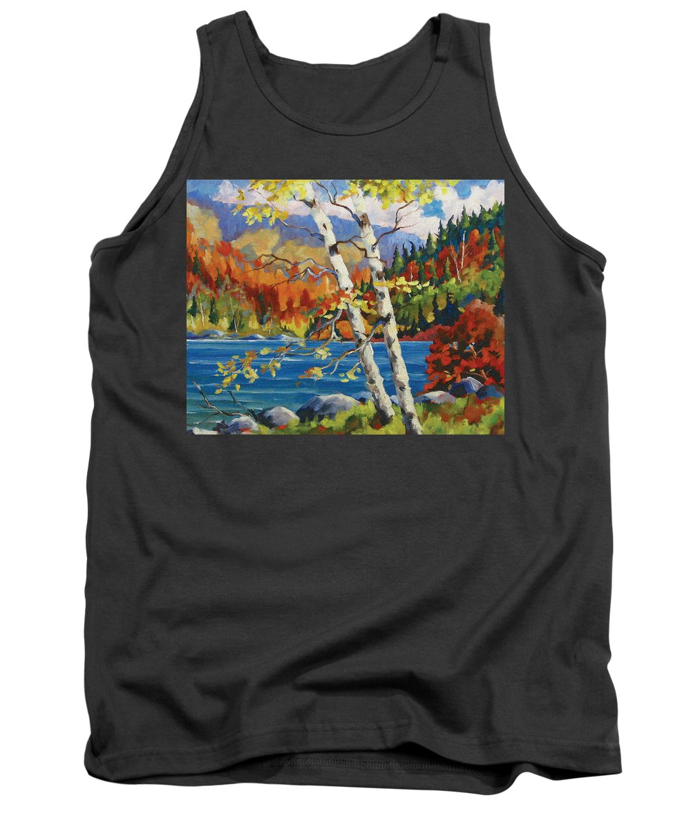 Art Tank Top featuring the painting Birches By The Lake by Richard T Pranke