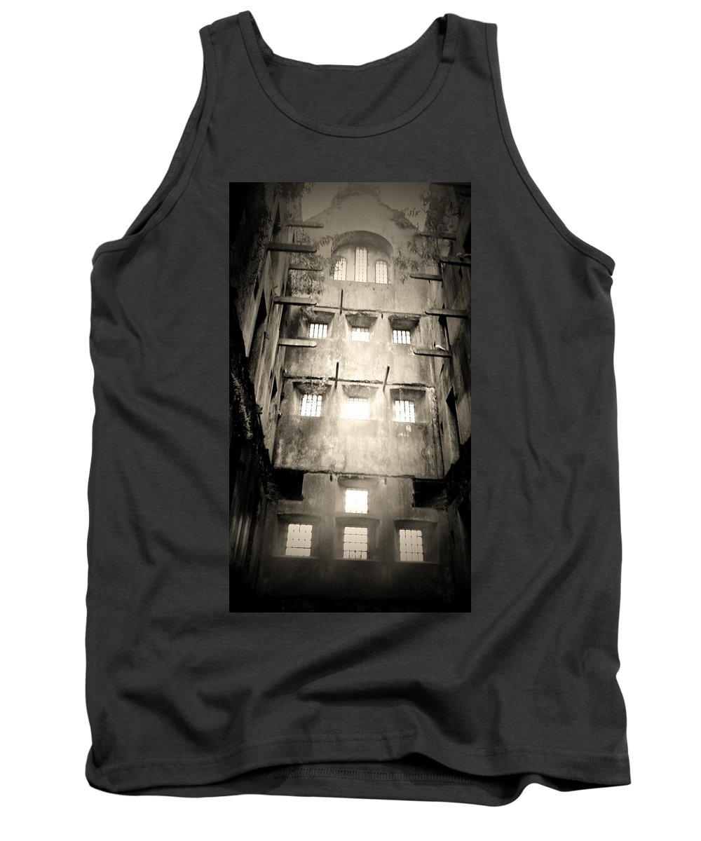 Jail Tank Top featuring the photograph Black And White Bodmin Jail by Lisa Byrne