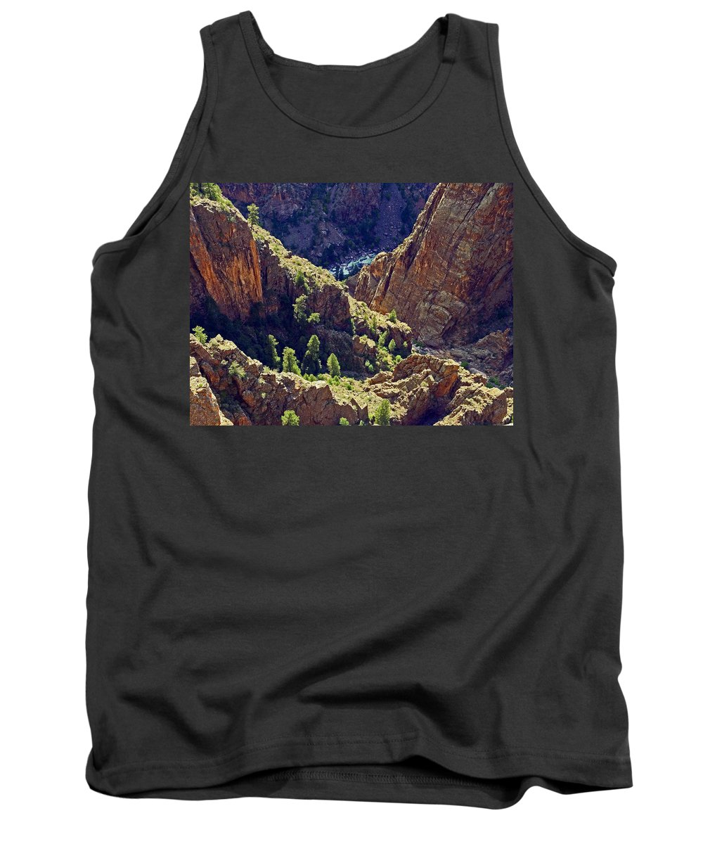 Steep Canyon In Late Sun Tank Top featuring the photograph Black Canyon Of The Gunnison by Sally Weigand