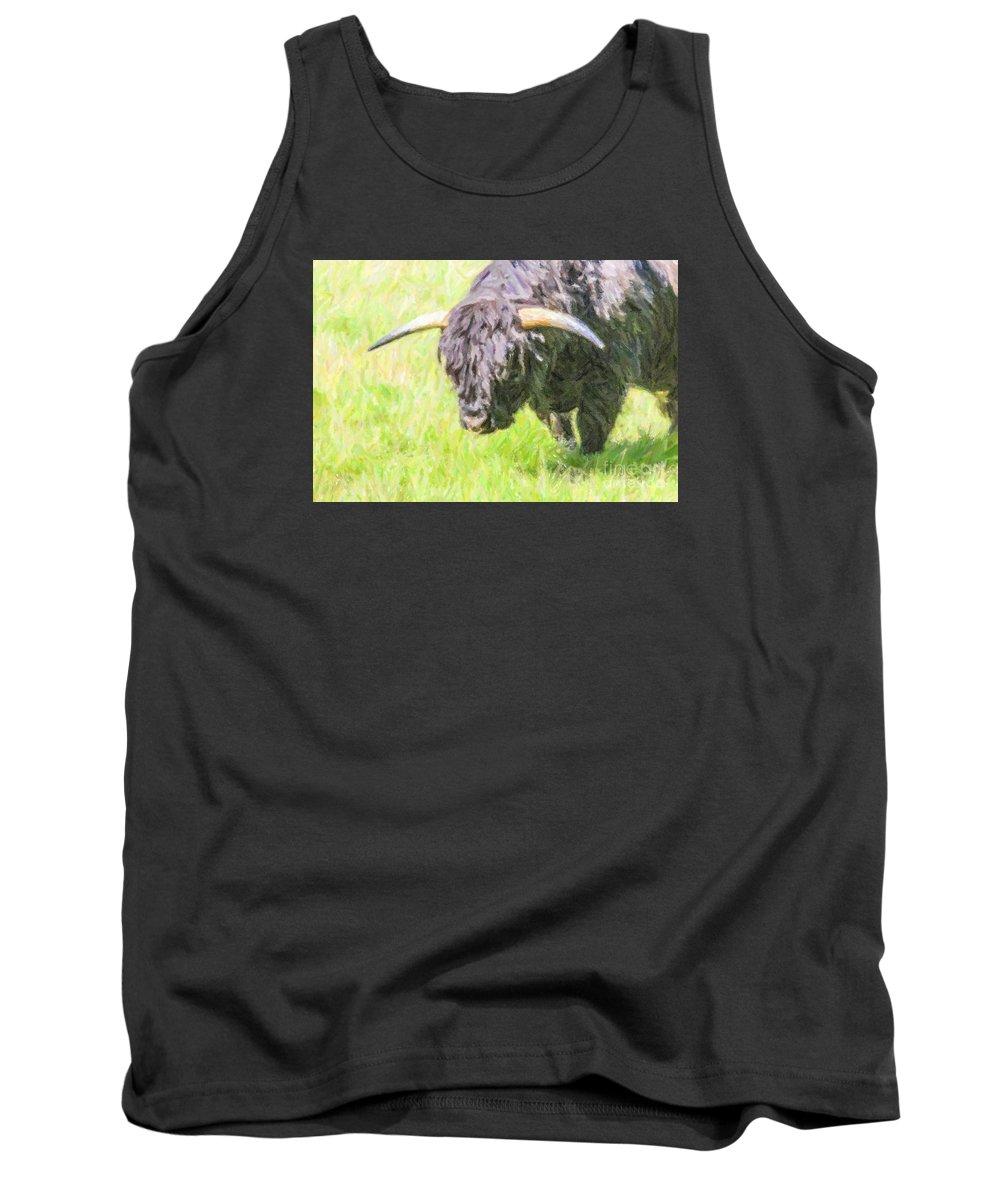 Highland Cattle Tank Top featuring the digital art Black Highland Cattle Bull by Liz Leyden