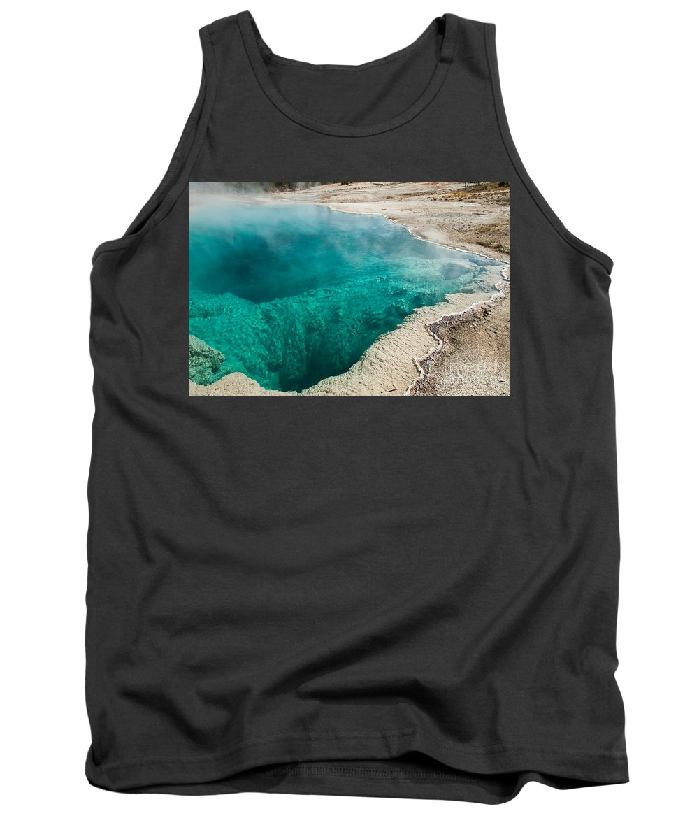 Afternoon Tank Top featuring the photograph Black Pool In West Thumb Geyser Basin by Fred Stearns