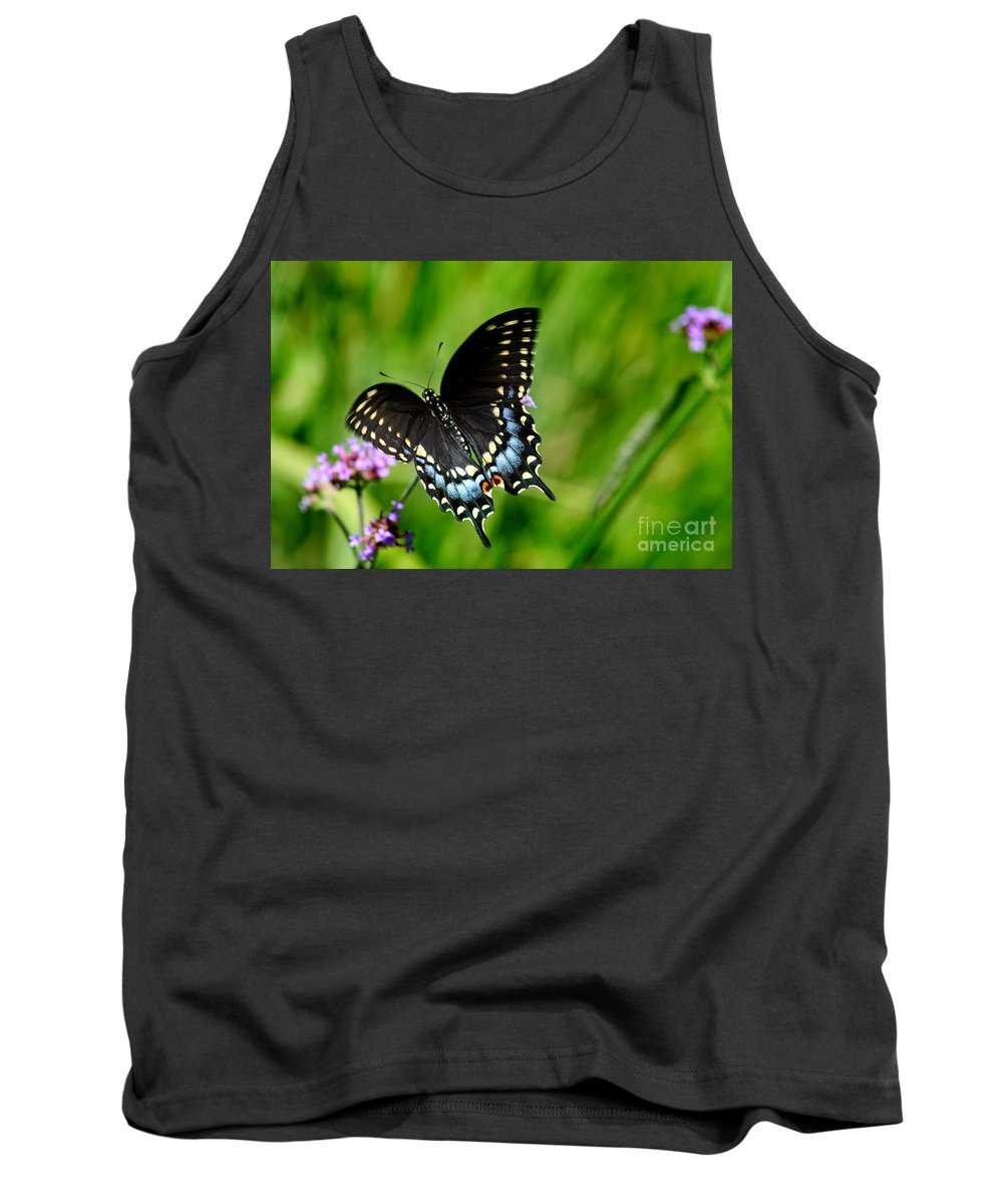 Butterfly Tank Top featuring the photograph Black Swallowtail Butterfly In Garden by Karen Adams