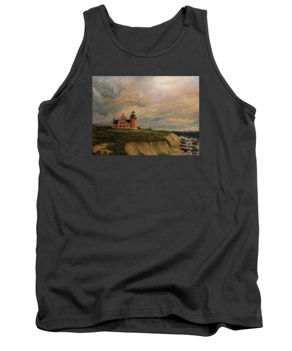 Lighthouse Tank Top featuring the painting Block Island Southeast Lighthouse by Robert Wright