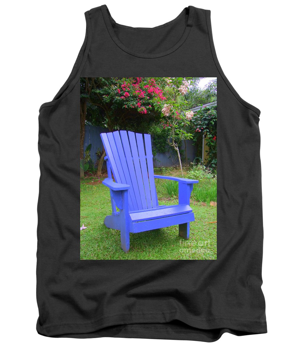 Chair Tank Top featuring the photograph Blue Chair by Mary Deal