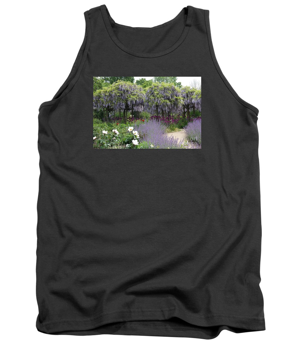 Flowers Tank Top featuring the photograph Blue Flowergarden With Wisteria by Christiane Schulze Art And Photography