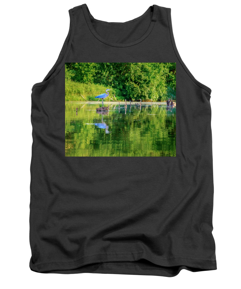 Heron Tank Top featuring the photograph Blue Heron by Alexey Stiop