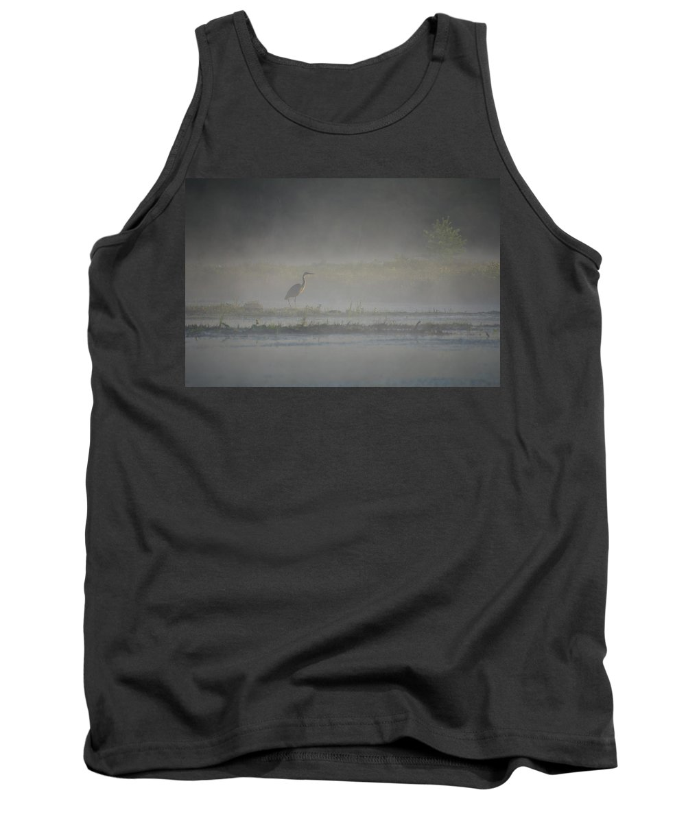 Bird Tank Top featuring the photograph Blue Heron At Dawn by Donna Doherty