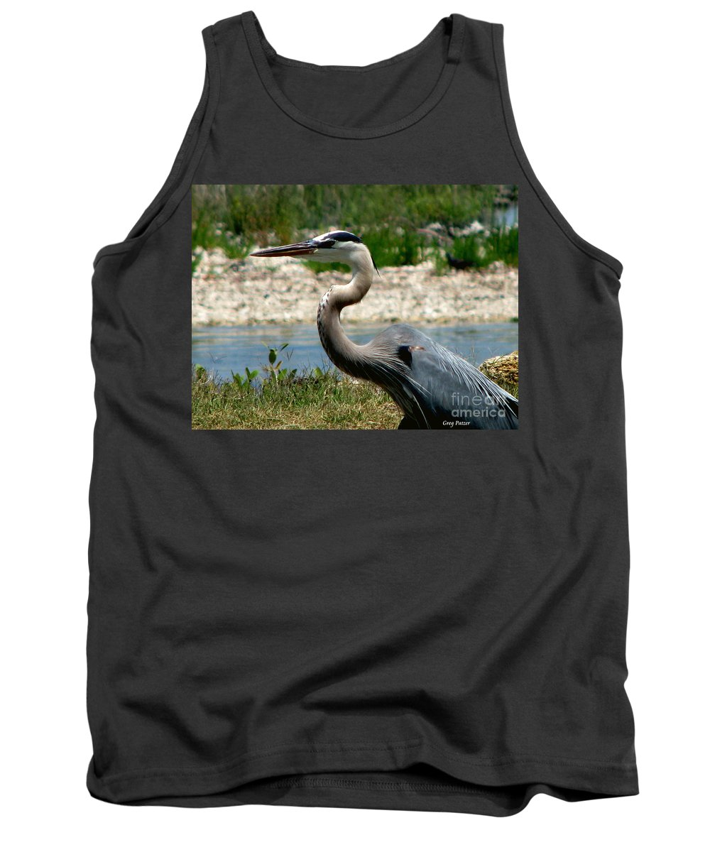 Art For The Wall...patzer Photography Tank Top featuring the photograph Blue Heron by Greg Patzer