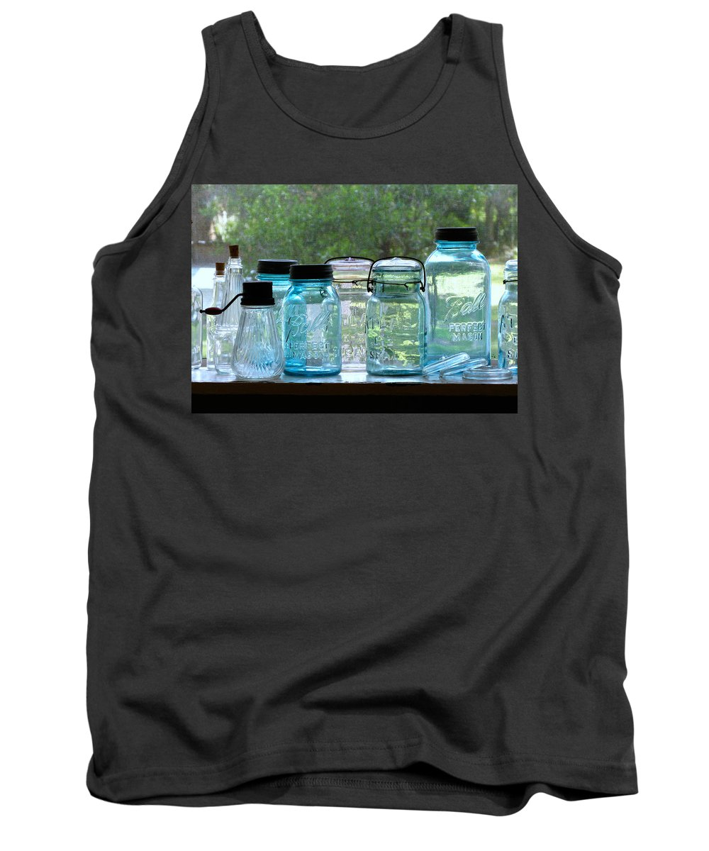 Cross Creek Tank Top featuring the photograph Blue Jars by Randi Kuhne