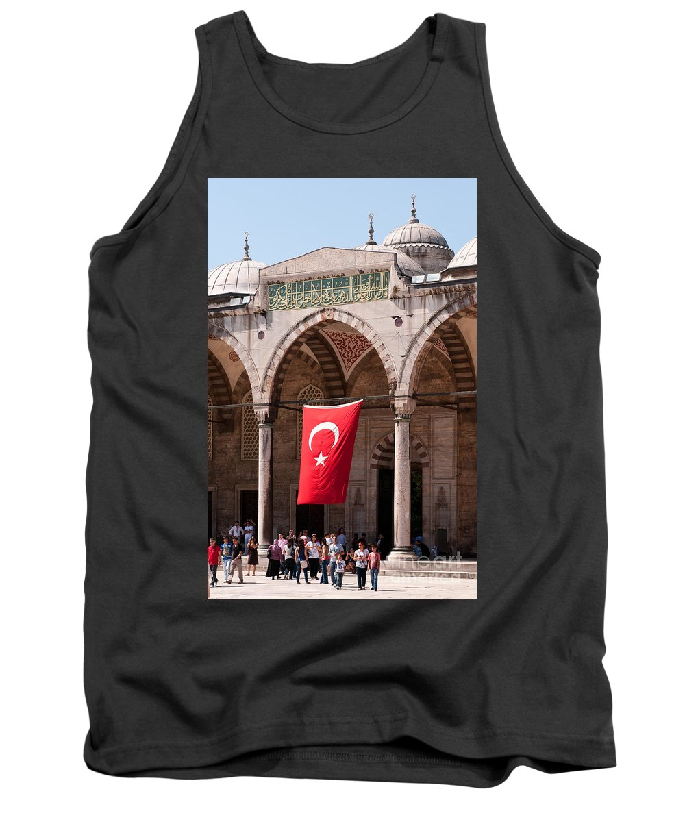Istanbul Tank Top featuring the photograph Blue Mosque Courtyard Portico by Rick Piper Photography