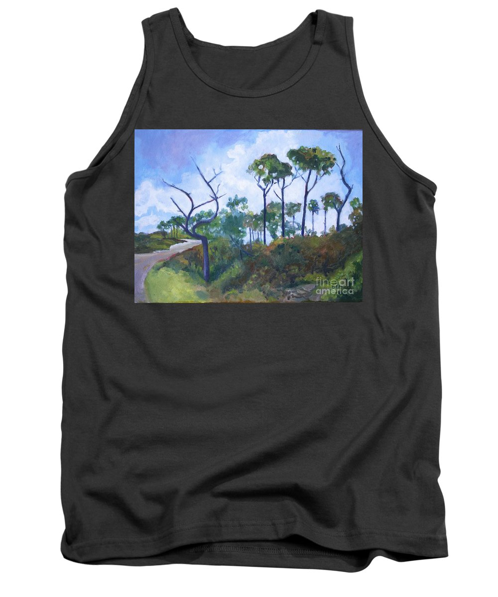 Landscape Tank Top featuring the painting Blue Skies by Jan Bennicoff
