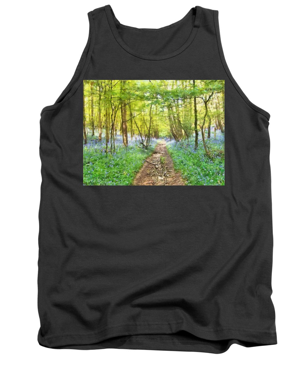 Bluebell Tank Top featuring the mixed media Bluebell Wood Watercolour by Roy Pedersen