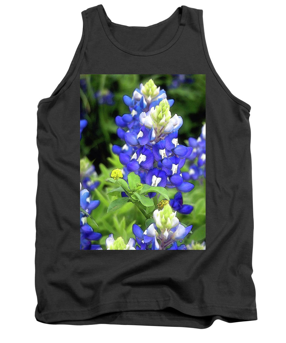 Bluebonnet Tank Top featuring the photograph Bluebonnets Blooming by Stephen Anderson
