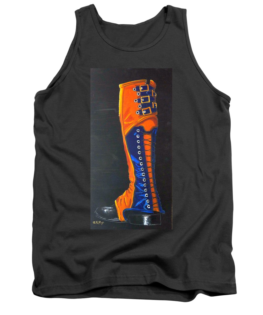 Blue Tank Top featuring the painting Blus And Gold Boot by Richard Le Page