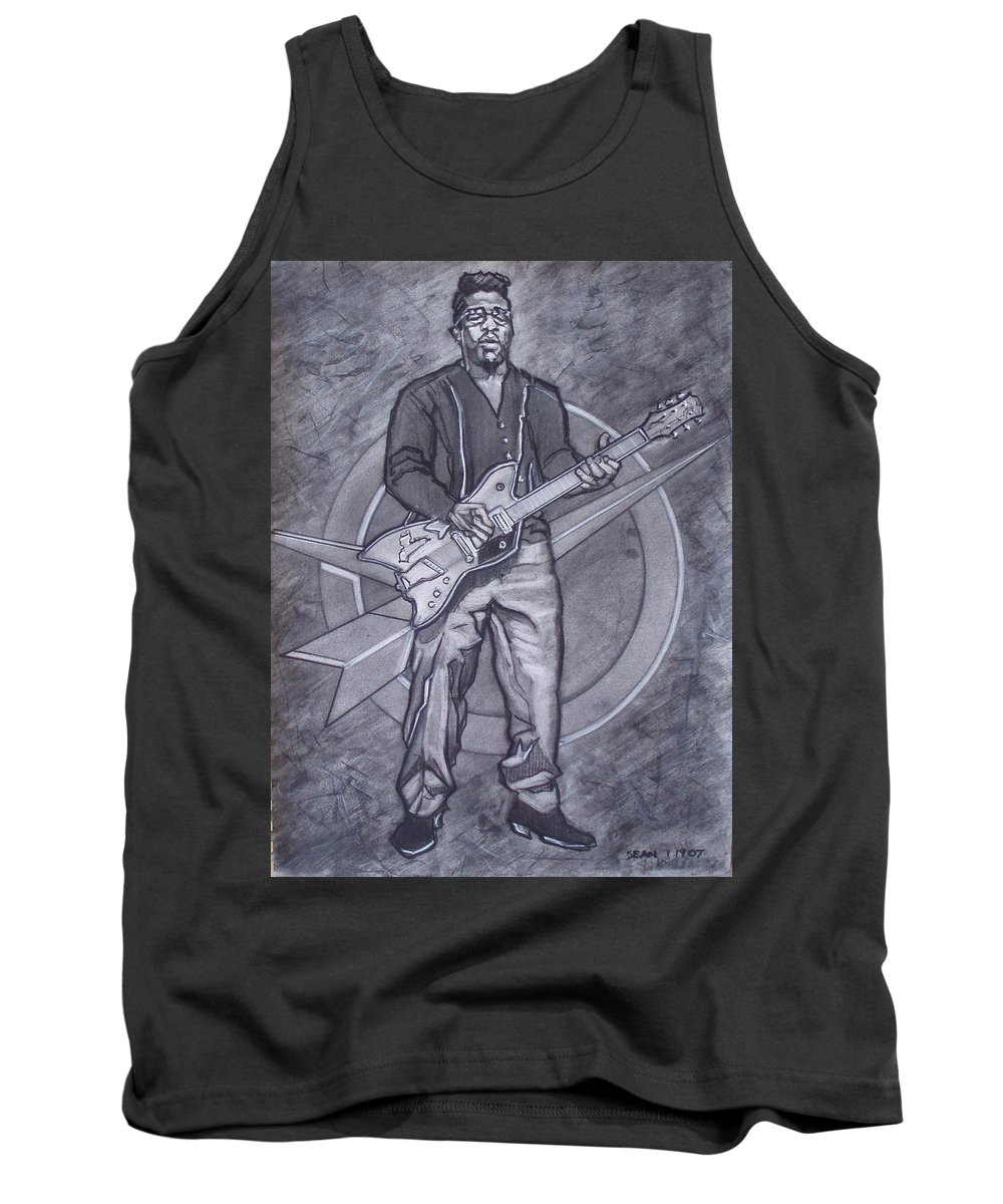 Texas;charcoal;king Of Rock;rock And Roll;music;1950s;blues;musician;funk;electric Guitar;marble;soul Tank Top featuring the drawing Bo Diddley - Have Guitar Will Travel by Sean Connolly