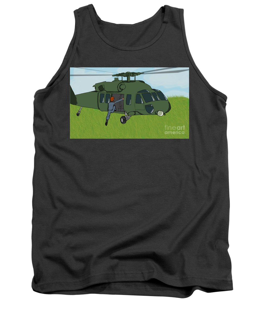Helicopter Tank Top featuring the digital art Boarding A Helicopter by Yael Rosen