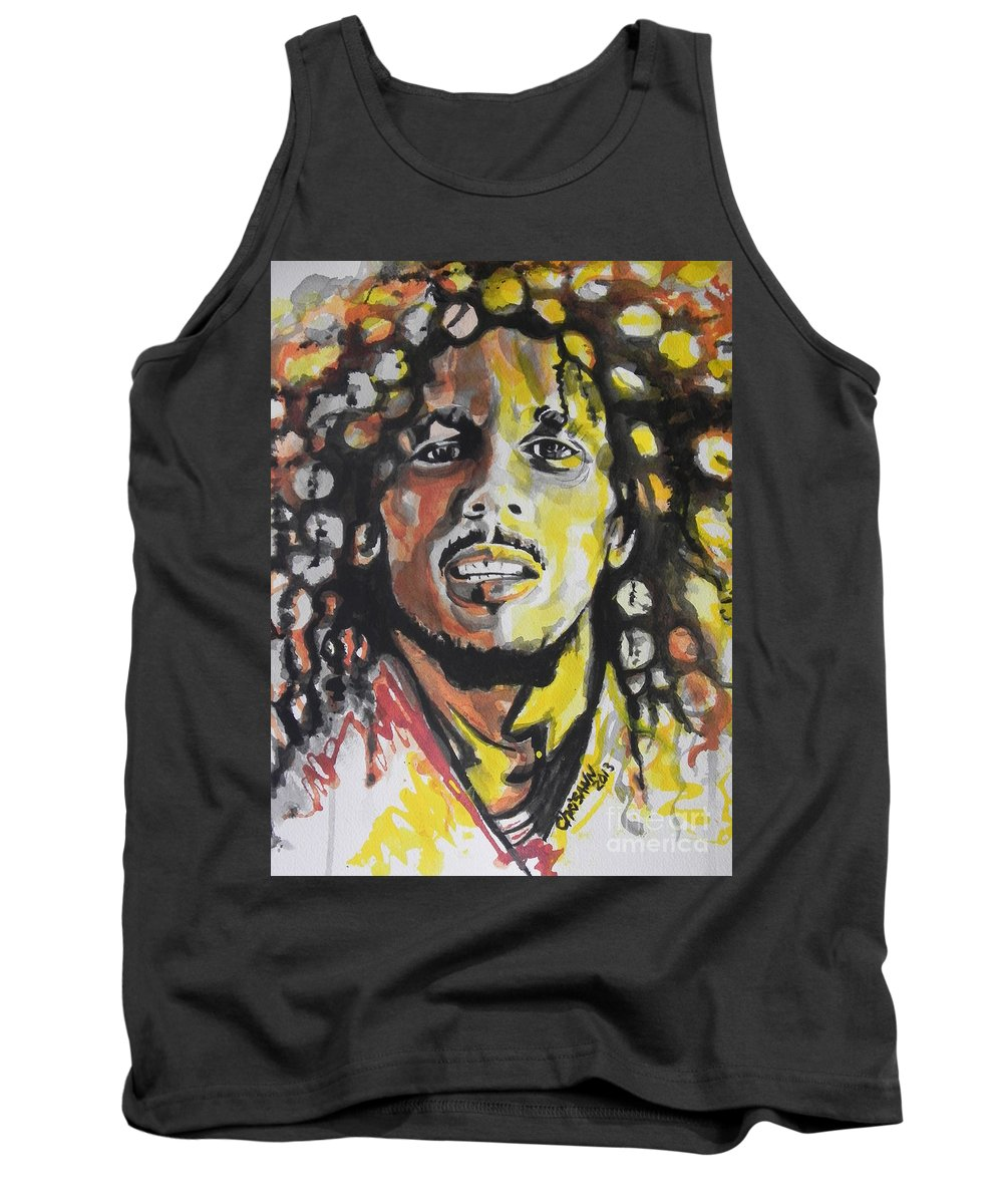 Watercolor Painting Tank Top featuring the painting Bob Marley 01 by Chrisann Ellis