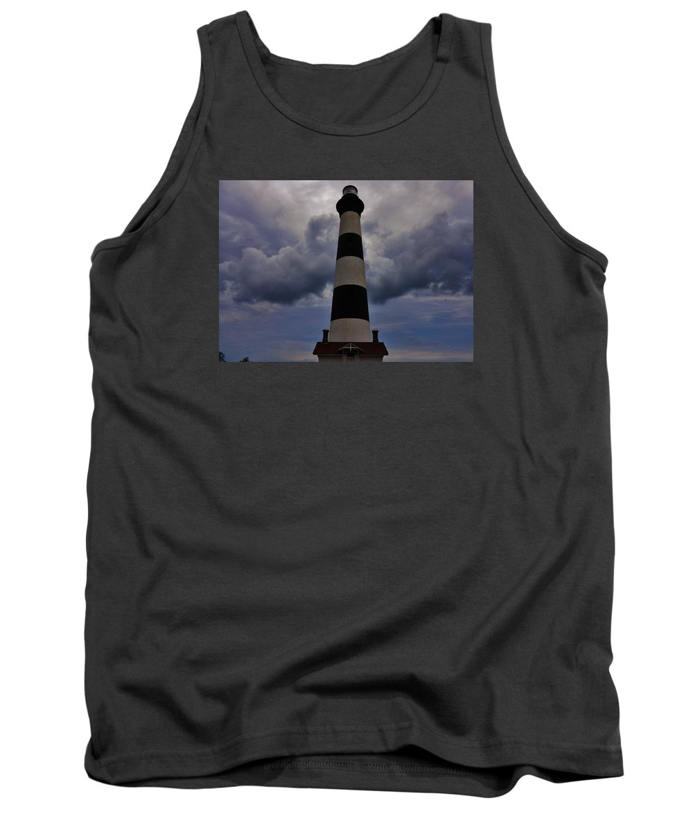 Mark Lemmon Cape Hatteras Nc The Outer Banks Photographer Subjects From Sunrise Tank Top featuring the photograph Bodie Island Lighthouse 4 5/14 by Mark Lemmon