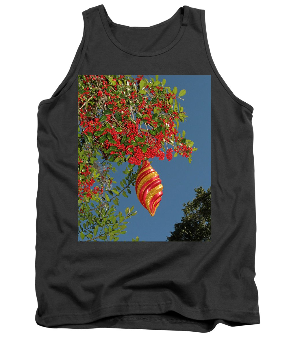Nature Tank Top featuring the photograph Boughs Of Holly by Peg Urban