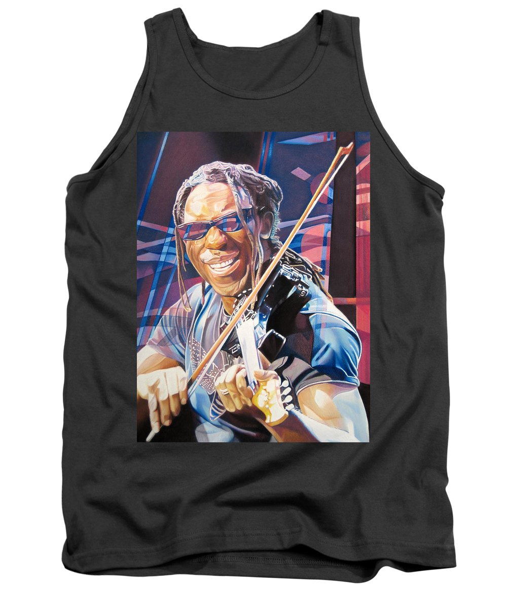 Boyd Tinsley Tank Top featuring the drawing Boyd Tinsley And 2007 Lights by Joshua Morton