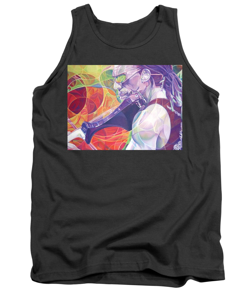 Boyd Tinsley Tank Top featuring the drawing Boyd Tinsley And Circles by Joshua Morton