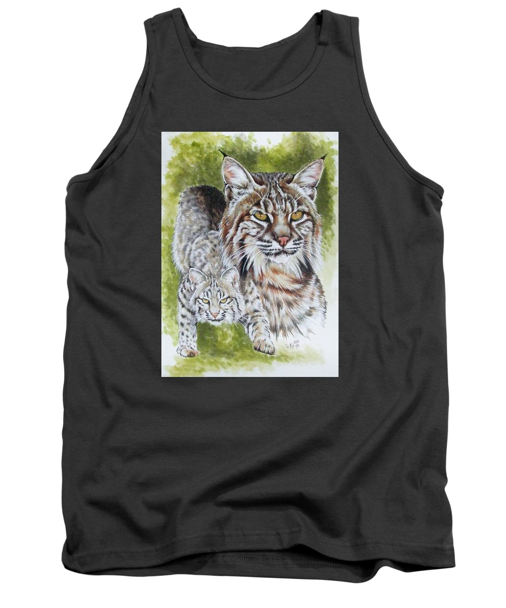 Small Cat Tank Top featuring the mixed media Brassy by Barbara Keith
